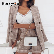 BerryGo Two-piece women plaid blazer suit Double breasted high street female blazer shorts set Business office ladies blazer set(China)