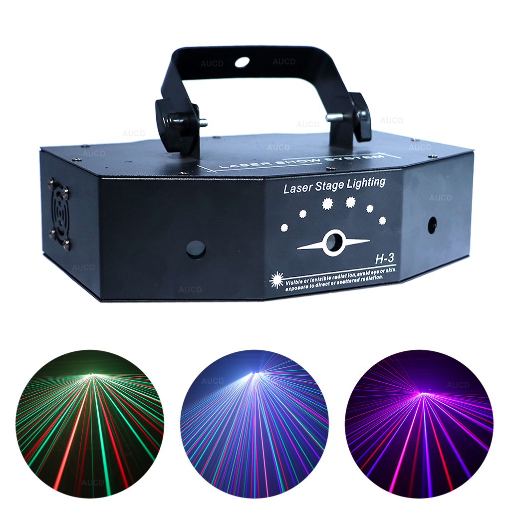 AUCD 3 Eye 500mW RGB Array Optical Network Rotation Moving Ray Projector Laser Lights Beam DMX DJ Party Show Stage Lighting DJH3-in Stage Lighting Effect from Lights & Lighting    1