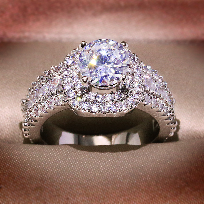 Big Bling Zircon Stone Silver Color Wedding Engagement Rings for Women Fashion Jewelry 2020 New SS925 3