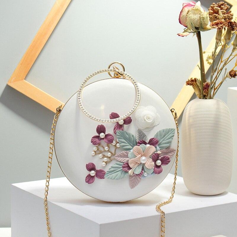 Fashion Round Flower Dec Women Evening Clucth Bag Designer Chains Shoulder Crossbody Bags Luxury Pu Metal Handle Ladies Handbags