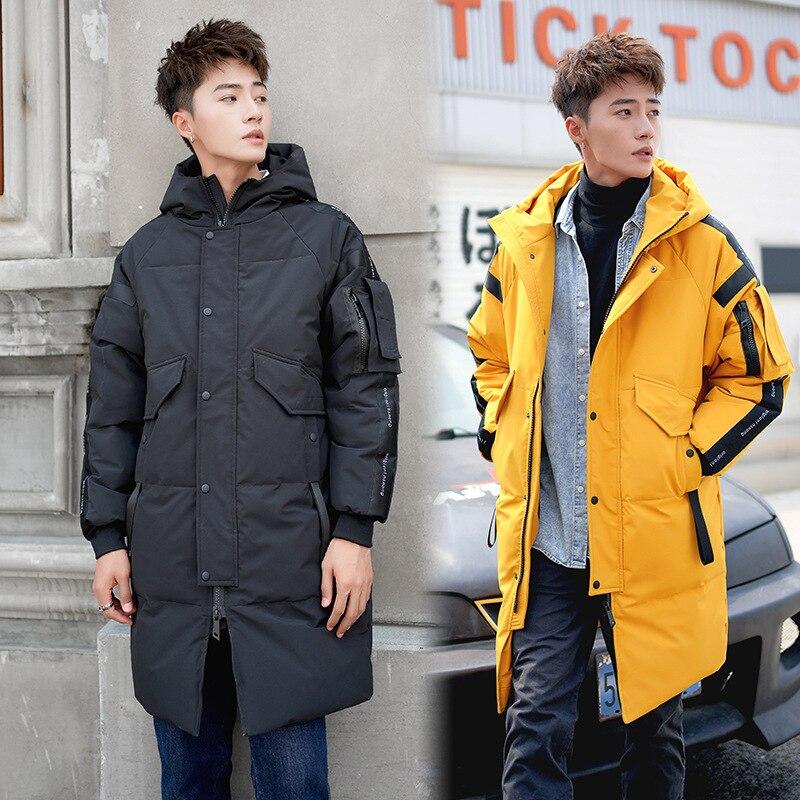 2019 Winter New Men's   Down   Jacket Ultralight Duck   Down   Warm   Coat   Black Long Thick Hooded Jacket Male Windproof Overcoat JK-833