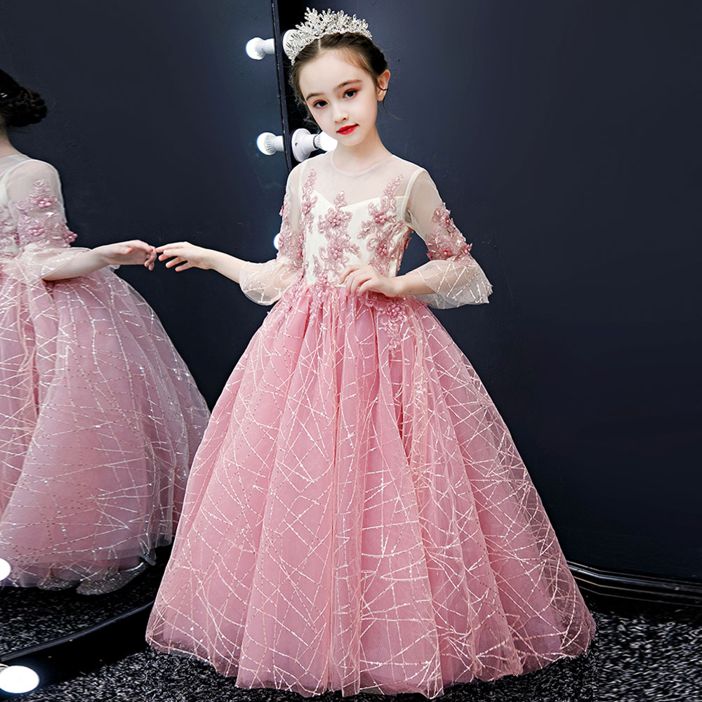 pink striped lace   flower     girl     dress   beads decoration and ground   girl   wedding party   dress   seven-point sleeve   flower     girl   clothes
