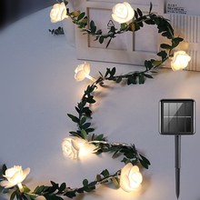 LED Rose tree vine Light String Solar Outdoor Christmas Garland Fairy Lights Garden Wedding Party Holiday New Year 's Decoration led decorative street garland string fairy light 10 20m 30m decoration for christmas tree garden wedding new year holiday lights