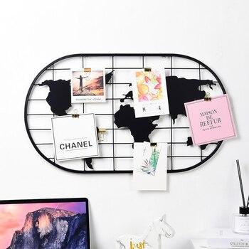 Mapa del mundo, fotos de pared, rejilla de malla de Metal nórdico, Postales DIY, arte de pared, pantalla, organizador, soporte para marco de fotos