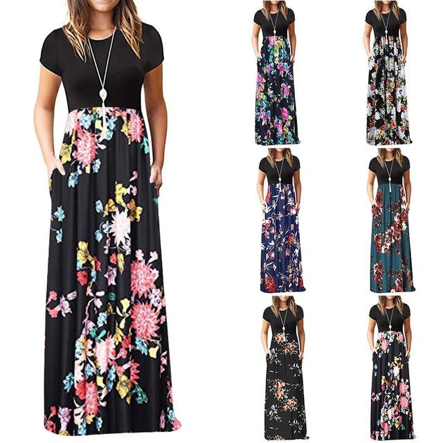 Womens Casual O-neck Floral Printed Maxi Dress Elegant Tank Long Dress Plus Size Polyester Summer Pocket Dresses Hot