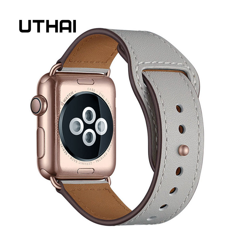 Strap for apple watch band 38MM 42MM 40MM 44MM Genuine leather watchband For iwatch 3/2/1 For Apple Watch 4/5 Watch Accessories(China)