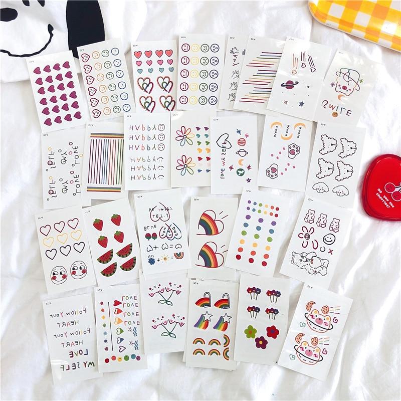 Tattoo Stickers 30 Sheets/ lot Kawaii Sticker Korean Style Ins Flowers Rainbow Tattoo Stickers Cartoon Decoration Stickers 1