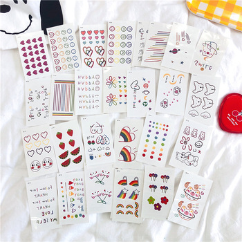 Tattoo Stickers 30 Sheets/ lot Kawaii Sticker Korean Style Ins Flowers Rainbow Tattoo Stickers Cartoon Decoration Stickers 1