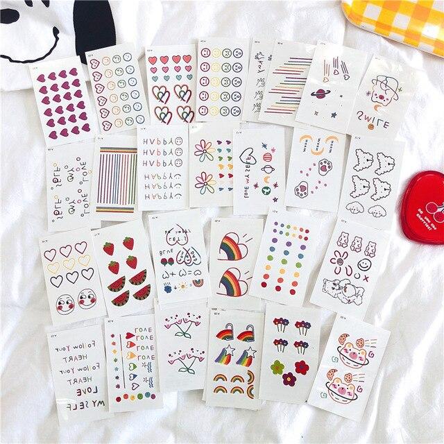 Autocollants de tatouage Style coréen, étiquettes Kawaii, fleurs arc en ciel, décoration, dessin animé, 30 feuilles/lot
