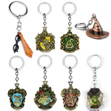 Movie HP Hogwarts Magic Feather Harry Glasses Gryffindor Tie Keychain Horcrux Deathly Hallow Key Chain Keyring Fan Souvenir Gift(China)