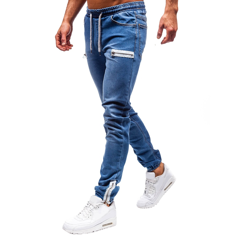 Men Pants Stretchy Ripped Skinny Biker Embroidery Print Jeans Zipper Slim Fit Denim Scratched Jean