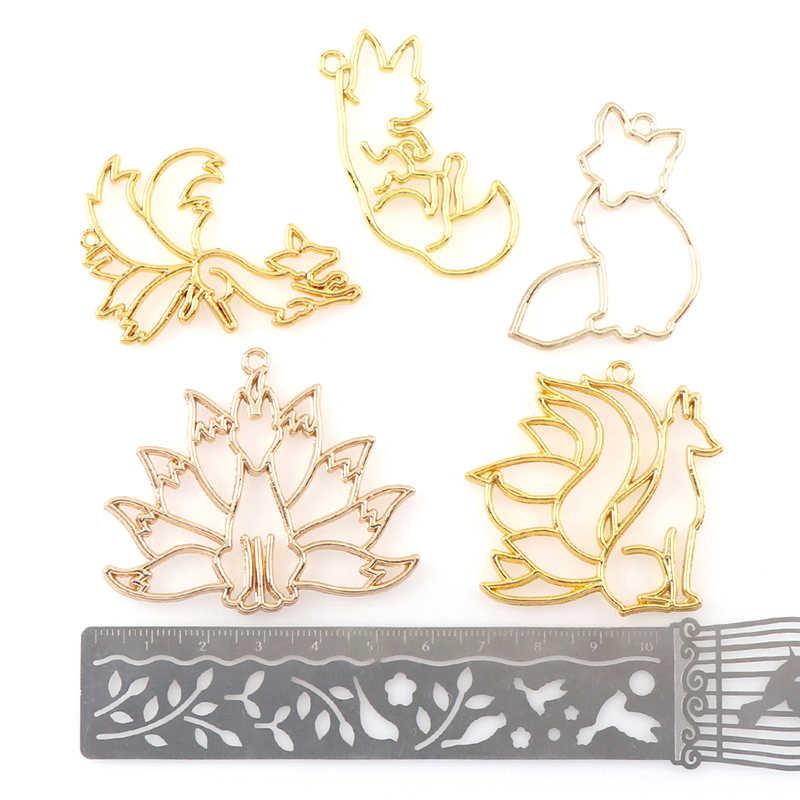 4Pcs Fox Struttura In Metallo Del Pendente Lunetta Impostazione UV di Fascino Della Resina Colata di Gioielli FAI DA TE Stampo di Fascino Monili Che Fanno