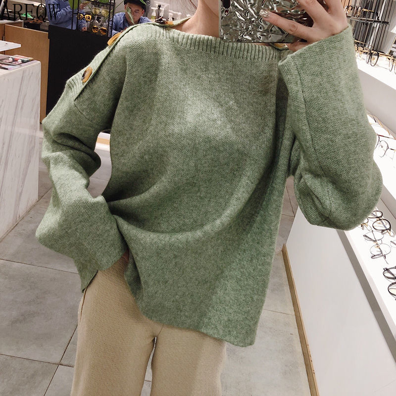 New 2019 Autumn Winter Women Sweater Slim Wild Long Sleeve Pullover Slash Neck Loose Solid Female Fashion All-Match Tops