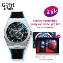 GATTI 2020 New Mens Watches Top Brand Leather Casual Men Sport Waterproof Clock Black Watch Relogio Masculino Mechanical Watch