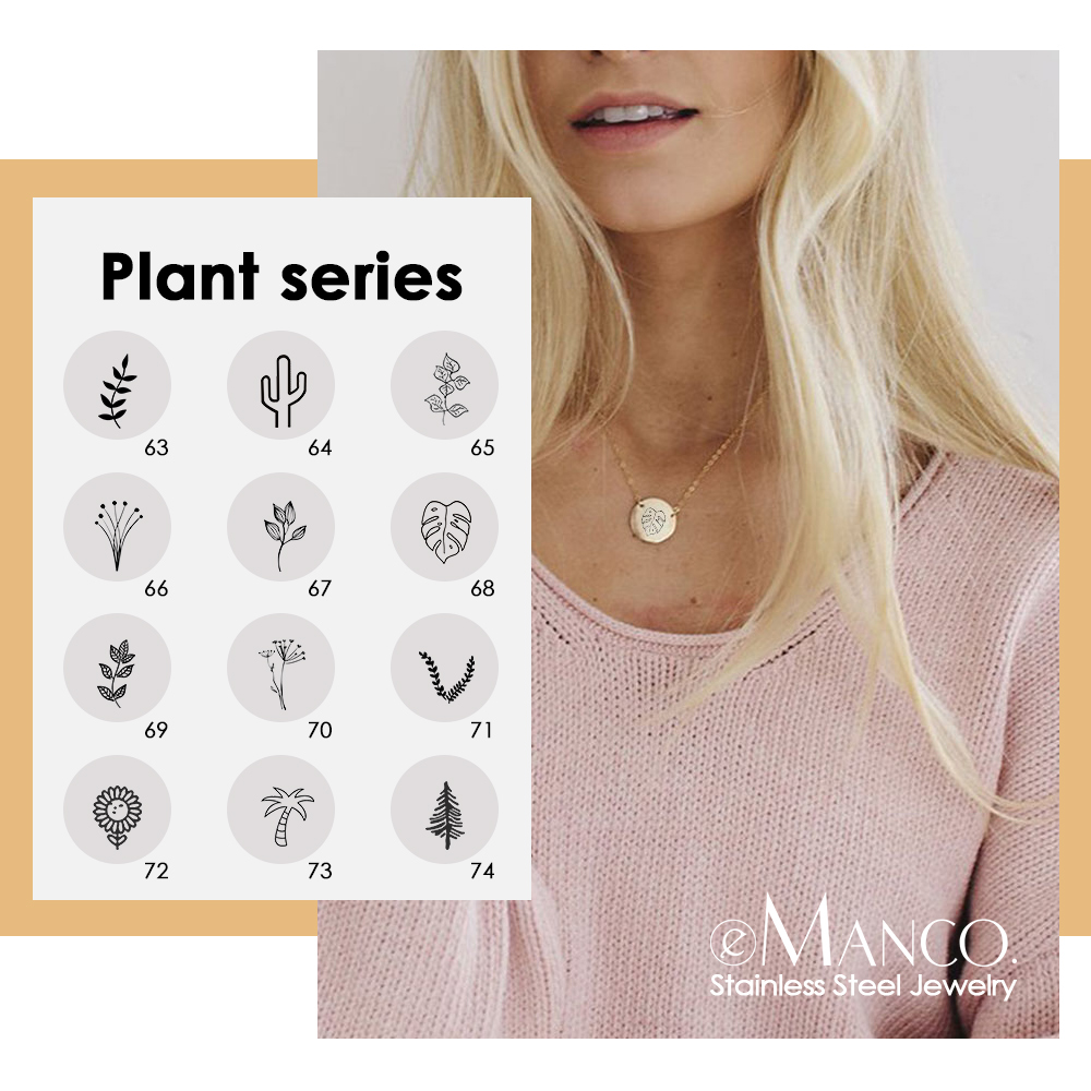 eManco Engrave Cactus Plants Necklace women Minimalist Gold Color 316L Stainless Steel Necklace Trendy Dainty Pendant Necklace
