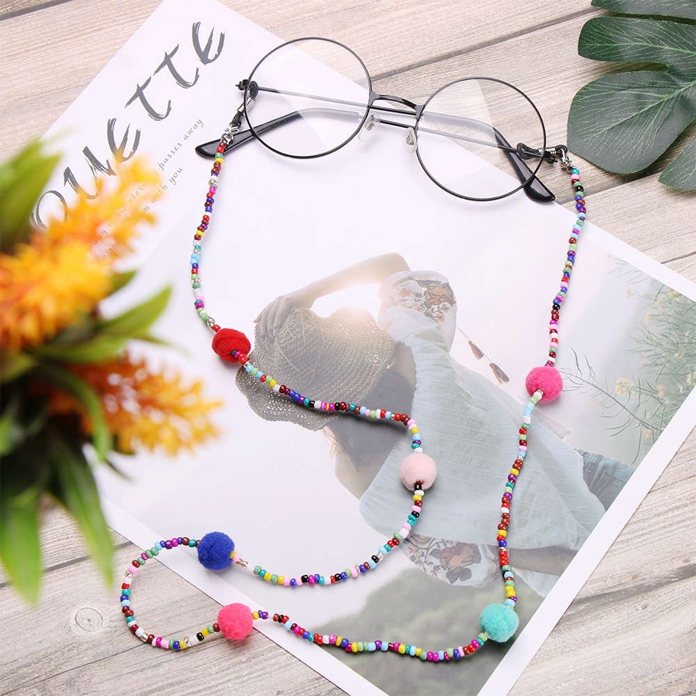 1Pcs Hot 70cm Coin Tassel Colorful Beaded Glasses Chain Women Handmade Lovely Plush Ball Lanyard Charm Fashion Strap Cord Holder
