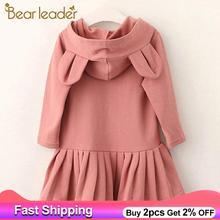 Bear Leader Girls Dress New Brand Baby Girls Blouse Rabbit Ears Hooded