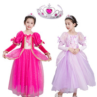 Girls Full Elsa Sophia Dress Costume Pink Red Snow Queen Princess Dress up Halloween Christmas Party Cosplay Fantasy with Crown
