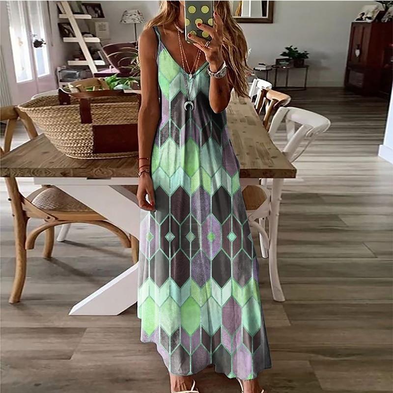 Women's Summer Casual Printed Camisole Long Dress Fashion Sexy Plus Size Dress Bohemian Dress 4