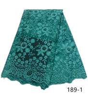 African Lace Fabric 2019 Embroidered Nigerian Wedding Lace Fabric High Quality French Tulle Lace Fabric Beads Stones 189