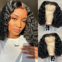 Lace Wig Human-Hair T-Part Water-Wave Curly Pre-Plucked Brazilian Bob 13x1 Remy 180-%