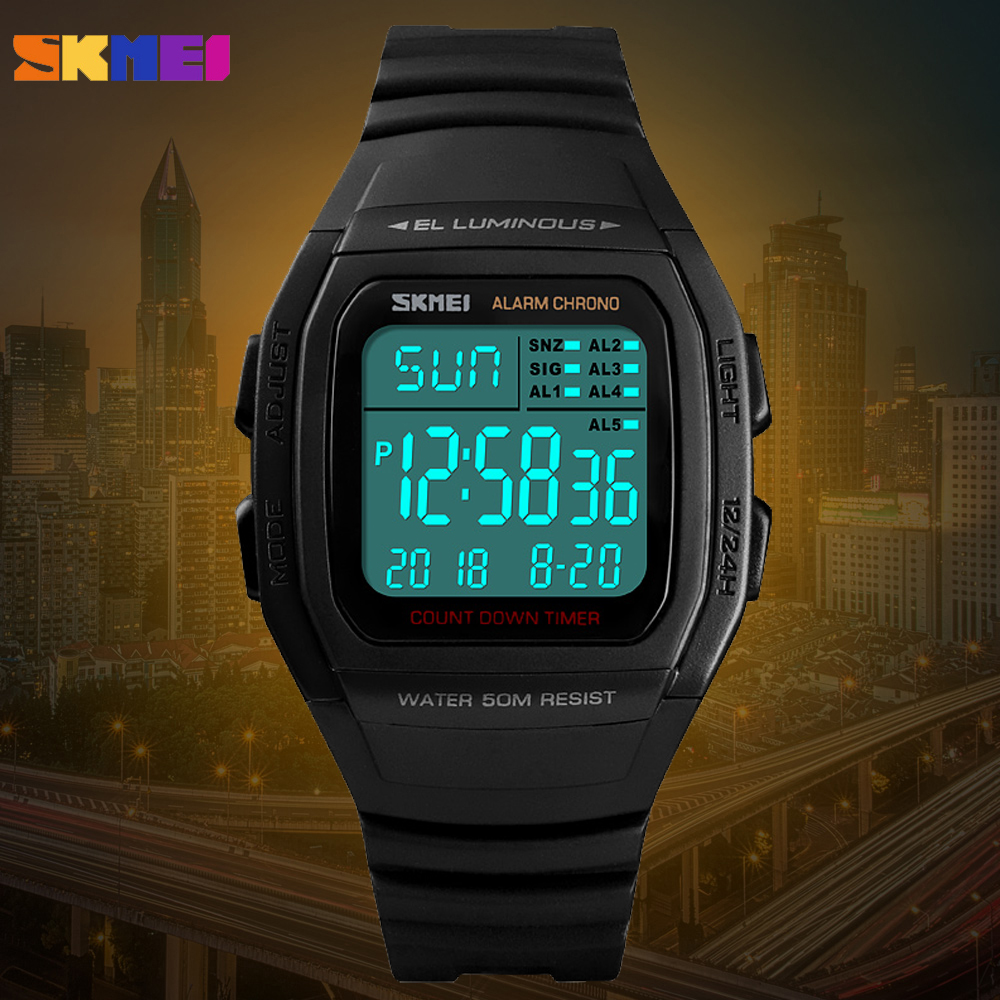 SKMEI Luxury Sport Mens Watch Fashion Digital Electronic Chrono Clock Waterproof Alarm Man Military Wristwatch Relogio Masculino