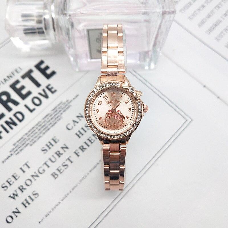 мужские часы Kt Cat Diamond Bow Children's Watch Girls Children's Cartoon Watch Stainless Steel Strap Watch Reloj Hombre