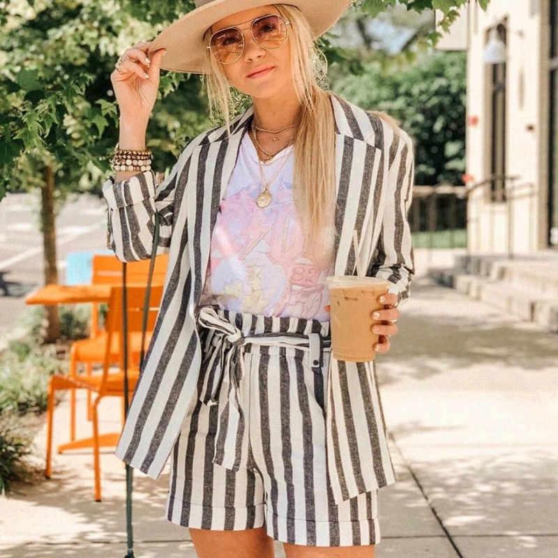 Фото Стильные шикарные полосатые шорты на молнии сзади женские модные офисные трусы