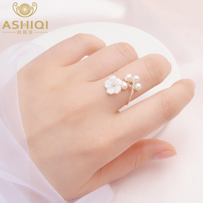 ASHIQI Natural Freshwater Pearl 925 Sterling Silver Ring Fashion Natural Shell Flowers Handmade Jewelry For Women