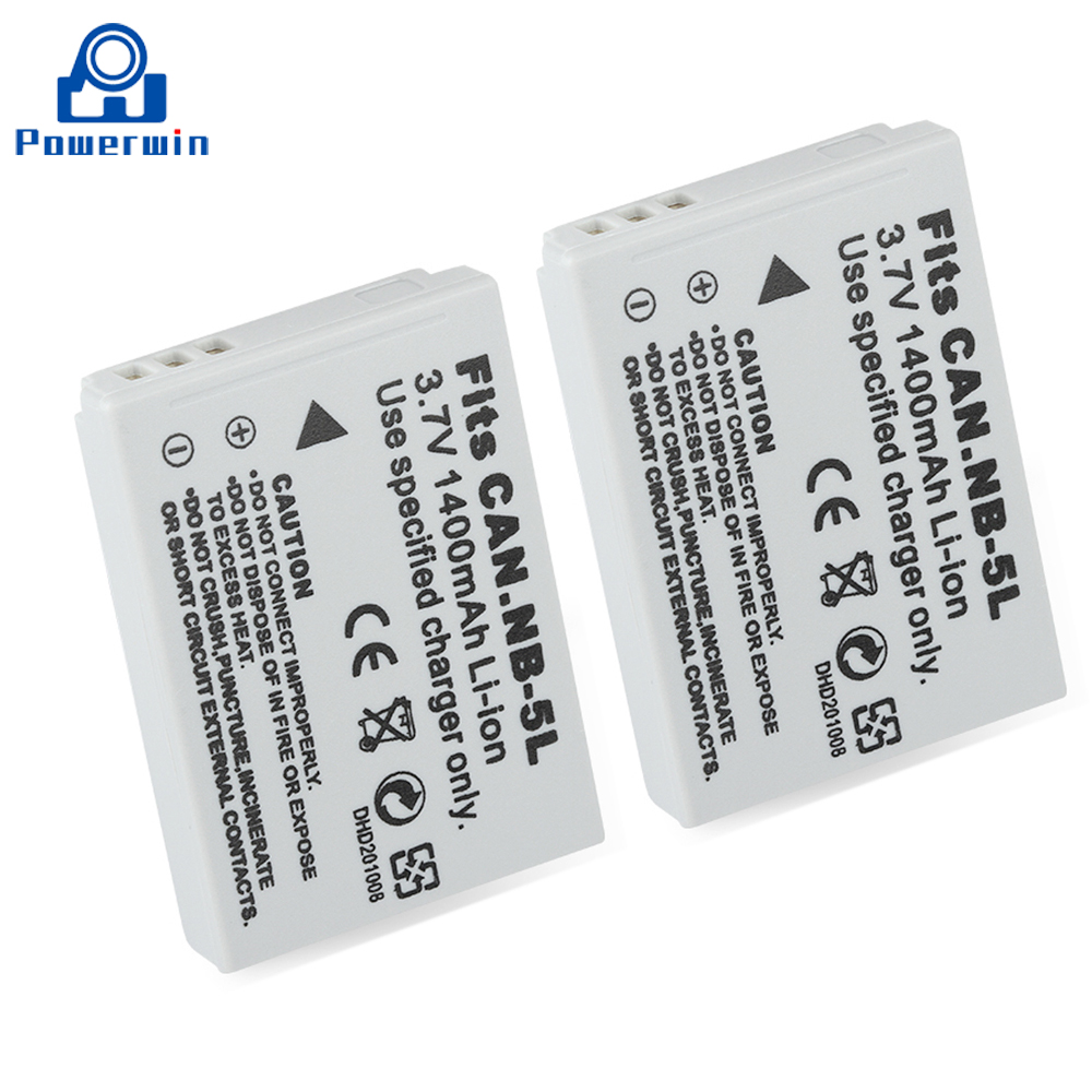 Powerwin 2pcs 1400mAh 3.7V NB-5L NB 5L NB5L Camera <font><b>Battery</b></font> For <font><b>Canon</b></font> SX200 SX210IS SX220HS <font><b>SX230HS</b></font> CB-2LXE Shot S100 S110 SD950 image