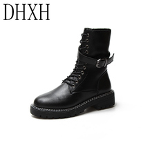 DHXH Autumn and winter women's boots ins cool girl Martin boots female British wind boots high-top thick heel motorcycle boots 2017 autumn and winter british wind thick bottom shoes lace up boots within 12cm muffin high slope with martin boots