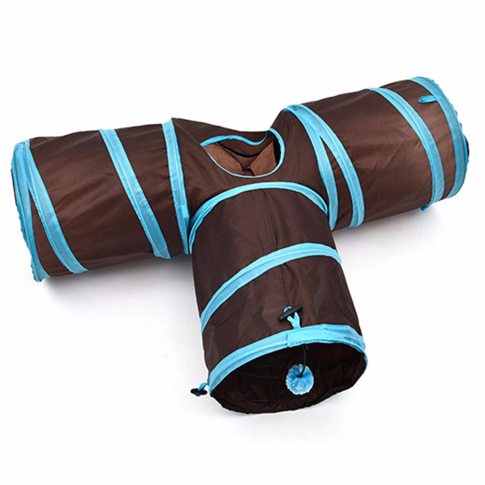Funny T Shape Nylon Cats Tunnel Toys Three Way Foldable Home Folding Training Tunnel Pet Products Accessories Supplies image