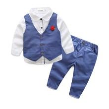 Boys Blazer Casual-Suit Flowers Vest New 3pcs Autumn And Spring Wasailong Pants Shirt