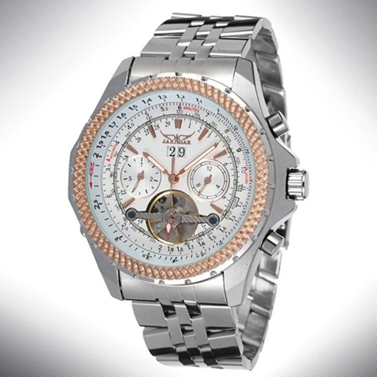 JARAGAR Fashion new men's watch calendar automatic mechanical watch hollow design steel watch band business watch