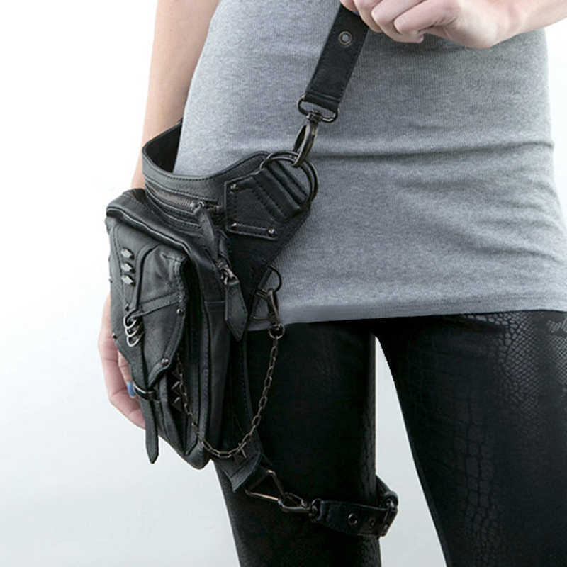Motosiklet kadın bel çantası Fanny paketleri Steampunk uyluk bel çantası Moto Biker bacak çantası gotik erkekler omuz Crossbody çanta