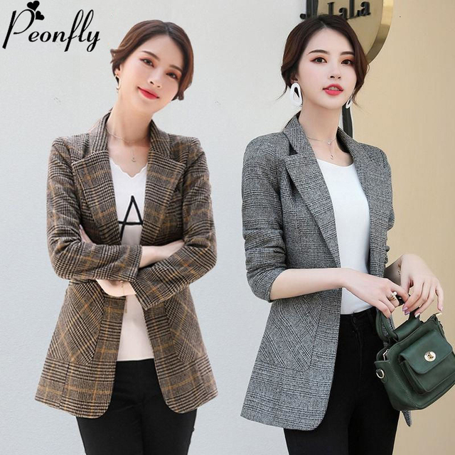 PEONFLY Vintage Office Lady Notched Collar Plaid Women Blazer Single Button Autumn Jacket 2021 Casual Pockets Female Suits Coat 1