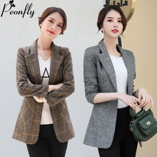 PEONFLY Vintage Office Lady Notched Collar Plaid Women Blazer Single Button Autu