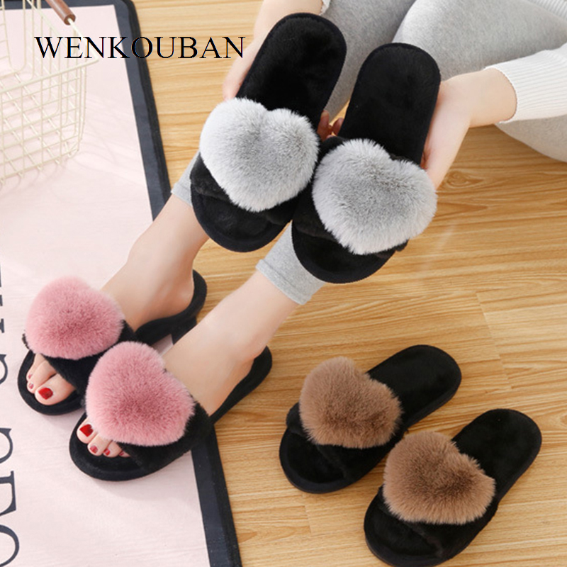 Women Slippers Love Heart Cotton Slippers Winter Fur Slides Ladies Home Furry Slippers Warm Indoor Shoes Claquette Fourrure