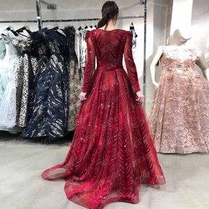 Image 2 - חדש הגעה דובאי יין אדום קטיפה ערב שמלות ארוך שרוול אלגנטי V צוואר יהלומי חרוזים פורמליות ערב שמלת סעודיה
