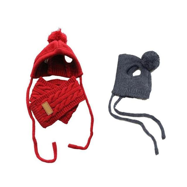 Fashion Winter Warm Knitted Pet Hat Scarf Set Dogs Hats Pets Products Funny Cosplay Pet Dog Cap For Chihuahua Puppy Accessories 2
