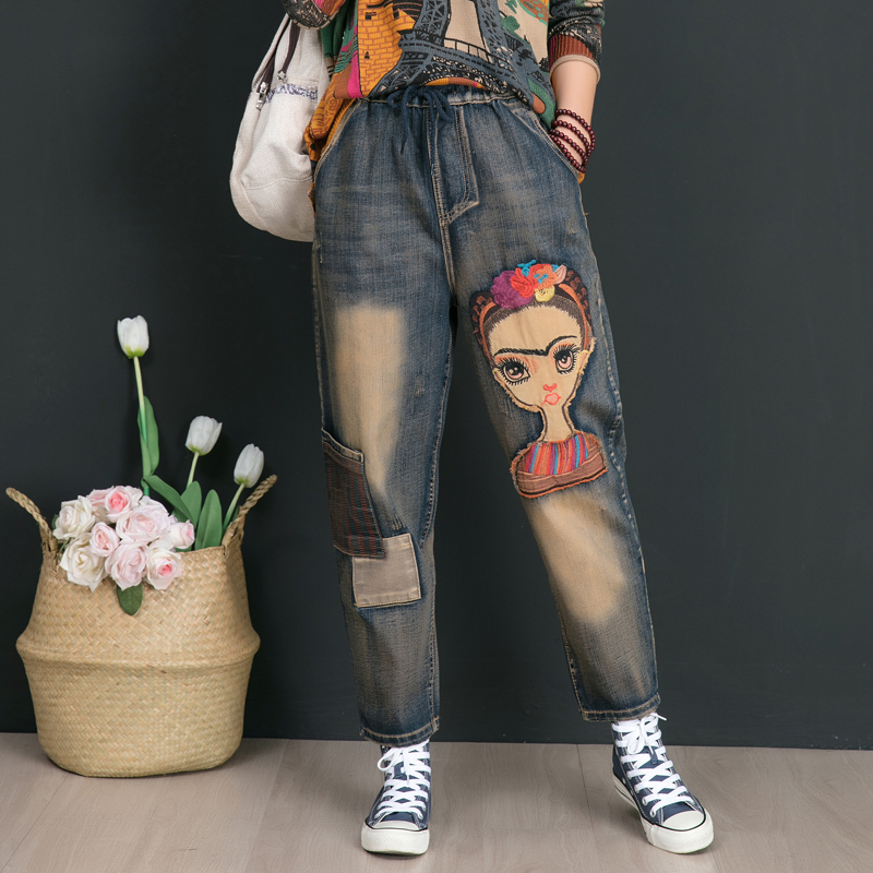 2020 Spring Women Fashion Korea Style Elastic Waist Cartoon Embroidery Vintage Denim Harem Pant Office Lady Oversize Casual Jean