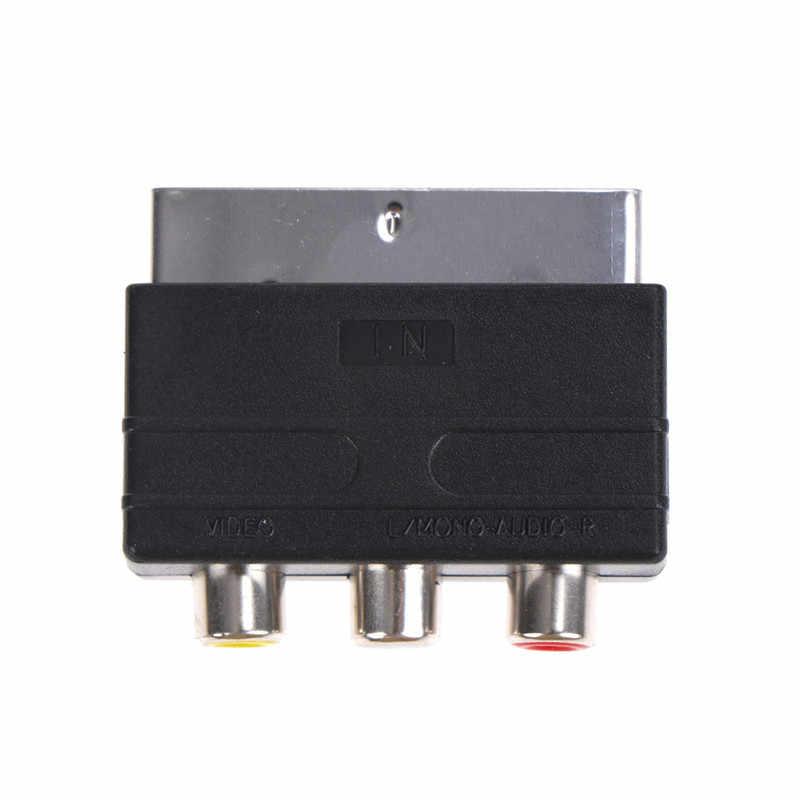 Серебряный SCART К 3 RCA композитный Phono адаптер конвертер + In/Out переключатель