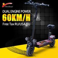 Patinete eléctrico de doble Motor para adultos, Scooter plegable de rueda grande con batería de litio