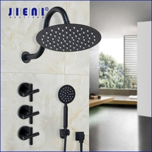 JIENI 8 Inch Ultra thin Black Painting Round Wall Mount Bathroom Dual Handles Rainfall Shower Faucet Shower Head Hand Shower Set