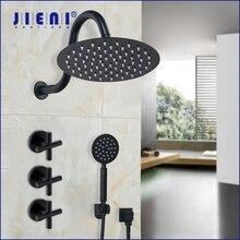 JIENI 8 pouces Ultra mince noir peinture ronde montage mural salle de bain double poignées pluie douche robinet pomme de douche main ensemble de douche