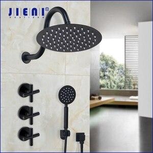 Image 1 - JIENI 8 дюймовый ультратонкий черный круглый настенный кронштейн для ванной комнаты с двойными ручками, смеситель для Дождевого душа, насадка для душа, ручной душ