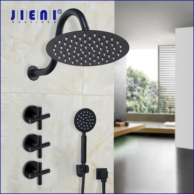 JIENI 8 дюймовый ультратонкий черный круглый настенный кронштейн для ванной комнаты с двойными ручками, смеситель для Дождевого душа, насадка для душа, ручной душ