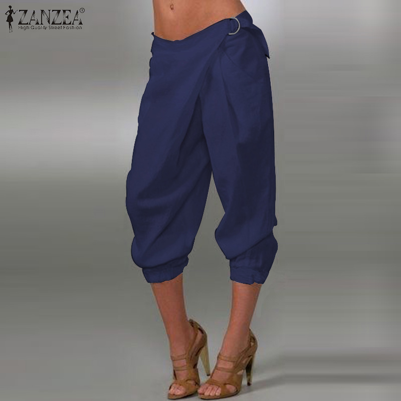 ZANZEA Women Stylish Harem Pants Cropped Pants Solid Loose Capris Ladies Baggy Trousers Casual Cotton Linen Pantalon Streetwear