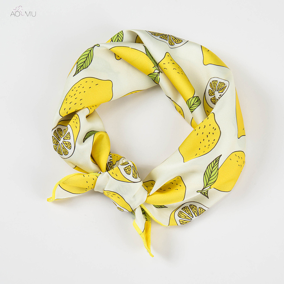 Scarf Head Lemon Fruit Handkerchief Band-Wrap Square Chiffon-Printing Small Women's Summer