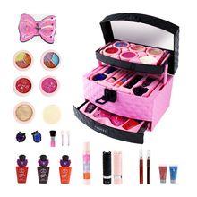 Моющийся макияж коробка для детей девочек Predend Play Косметика набор Тени для век Блеск для губ щетка игрушка Нетоксичная